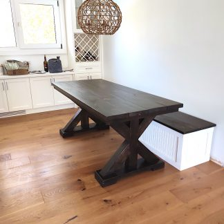 6-foot Trestlle Leg Harvest Table with matching Country-Style-Bench