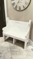 3.5-foot White-Washed Church Pew Bench