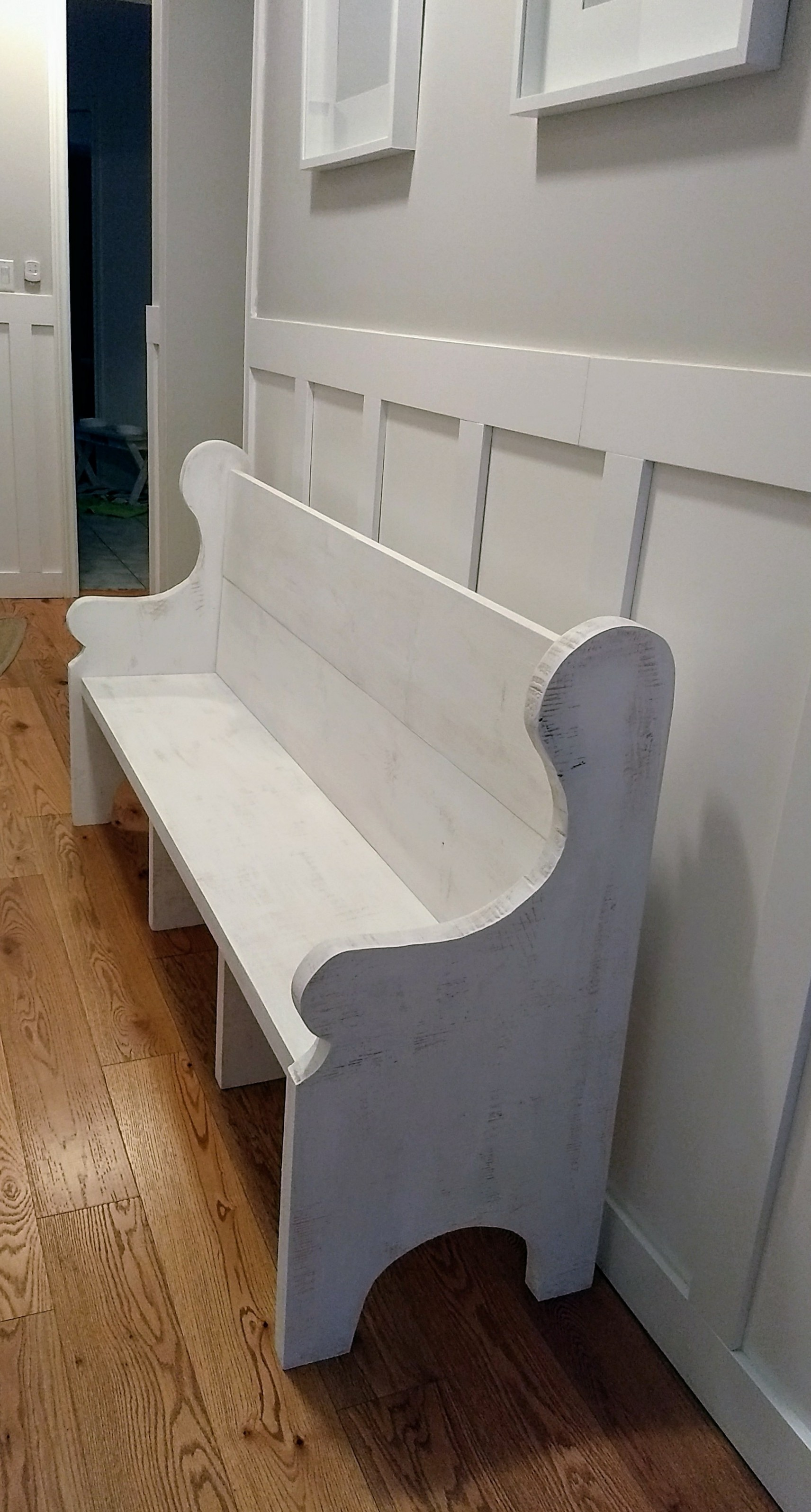 6-foot White Washed Church Pew