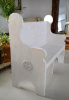 4-Foot whitewashed bench with decals