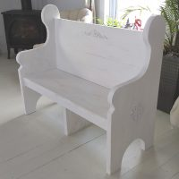 4 Foot whitewashed bench with decals