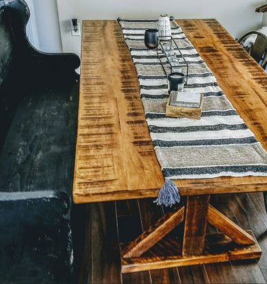 Country Table with Black Stressed Pew Bench
