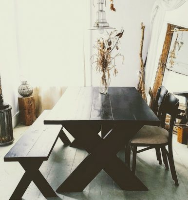 Black Distressed Farmhouse Table